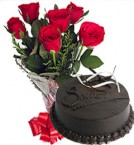 send OrderChocolate Truffle Cake n Red Roses Bunch Delivery