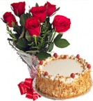 send OrderButterscotch Cake n Red Roses Bunch Delivery