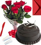 send Any Occasion Chocolate Truffle Cake N Roses Bunch delivery