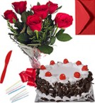 send Any Occasion Black Forest Cake N Roses Bunch delivery