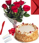 send Any Occasion Butterscotch Cake N Roses Bunch delivery