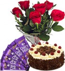 send Red Roses Bunch Eggless Black Forest Cake n Chocolate delivery