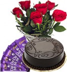 send Red Roses Bunch Eggless Chocolate Truffle Cake n Chocolate delivery
