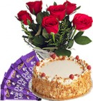 send Red Roses Bunch Eggless Butterscotch Cake n Chocolate delivery