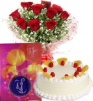 send Red Roses Bouquet Eggless Pineapple Cake n Cadbury Celebrations Box delivery