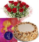 send Red Roses Bouquet Eggless Butterscotch Cake n Cadbury Celebrations Box delivery
