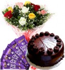 send Mix Roses Bouquet Eggless Truffle Cake n Chocolate delivery