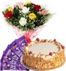 send Eggless Butterscotch Cake Mix Roses Bouquet N Chocolate delivery