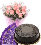send Eggless Truffle Cake Pink Roses Bouquet N Chocolate delivery