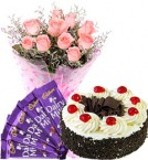 send Eggless Black Forest Cake Pink Roses Bouquet N Chocolate delivery