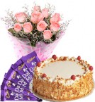 send Eggles Butterscotch Cake Pink Roses Bouquet N Chocolate delivery