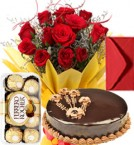 send Eggless Chocolate Truffle Cake Roses Bouquet Ferrero Rocher Greeting Card delivery