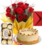 send Eggless Butterscotch Cake Roses Bouquet Ferrero Rocher Greeting Card delivery
