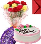 send Eggless Strawberry Cake Carnation Bouquet N Chocolate delivery