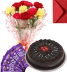 send Eggless Chocolate Traffle Cake Carnation Bouquet N Chocolate delivery