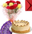 send Eggless Butterscotch Cake Carnation Bouquet N Chocolate delivery