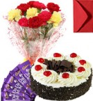 send Eggless Black Forest Cake Carnation Bouquet N Chocolate delivery