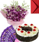 send Eggless Black Forest Cake Orchid Bouquet N Chocolate delivery
