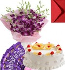 send Eggless Pineapple Cake Orchid Bouquet N Chocolate delivery