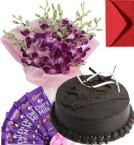 send Eggless Chocolate Traffle Cake Orchid Bouquet N Chocolate delivery