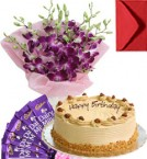 send Eggless Butterscotch Cake Orchid Bouquet N Chocolate delivery