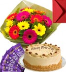 send Eggless Butterscotch Cake Gerbera Bouquet N Chocolate delivery
