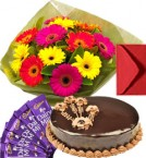 send Eggless Chocolate Truffle Cake Gerbera Bouquet N Chocolate delivery