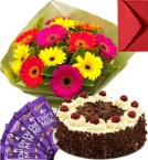 send Eggless Black Forest Cake Gerbera Bouquet N Chocolate delivery