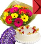 send Eggless Pineapple Cake Gerbera Bouquet N Chocolate delivery