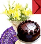 send Eggless Chocolate Truffle Cake Lilies Bouquet N Chocolate delivery