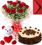 send Eggless Black Forest Cake Roses Bouquet N Teddy  delivery