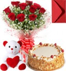 send Eggless Butterscotch Cake Roses Bouquet N Teddy  delivery