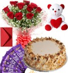 send Eggless Butterscotch Cake Roses Bouquet Teddy N Chocolate delivery