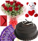 send Eggless Chocolate Traffle Cake Roses Bouquet Teddy N Chocolate delivery