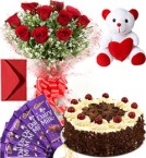 send Eggless Black Forest Cake Roses Bouquet Teddy N Chocolate delivery