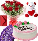 send Eggless Strawberry Cake Roses Bouquet Teddy N Chocolate delivery