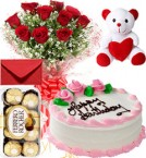 send Eggless Strawberry Cake Roses Bouquet Teddy N Ferrero Rocher Box delivery