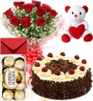 send Eggless Black Forest Cake Roses Bouquet Teddy N Ferrero Rocher Box delivery