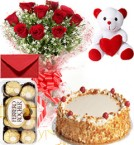 send Eggless Butterscotch Cake Roses Bouquet Teddy N Ferrero Rocher Box delivery