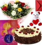 send Eggless Black Forest Cake Mix Roses Bouquet Teddy N Cadbury Celebration Box delivery