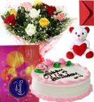 send Eggless Strawberry Cake Mix Roses Bouquet Teddy N Cadbury Celebration Box delivery