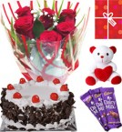 send Eggless Butterscotch Cake Roses Teddy Chocolate Starter Combo delivery