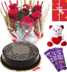 send Eggless Chocolate Traffle Cake Roses Teddy Chocolate Starter Combo delivery