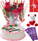 send Eggless Strawberry Cake Roses Teddy Chocolate Starter Combo delivery