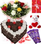 send Eggless Heart Shaped Black Forest Cake Roses Teddy Chocolate Starter Combo delivery