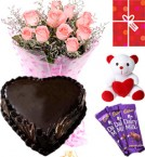 send Eggless Heart Shaped Chocolate Traffle Pink Roses Teddy Chocolate Starter Combo delivery