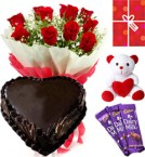 send Eggless Heart Shaped Chocolate Traffle Red Roses Teddy Chocolate Starter Combo delivery