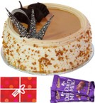 send Eggless Butterscotch Cake n Chocolate Starter delivery