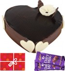 send Eggless Heart Shaped Chocolate Traffle Cake n Chocolate Starter delivery