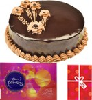 send Eggless Chocolate Traffle with Cadbury Celebrations Gift Pack n Card delivery